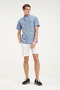 타미 힐피거 Tommy Hilfiger Short-Sleeve Oxford Shirt,BRIGHT WHITE / BLUE QUARTZ