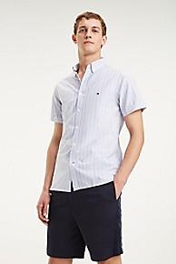 타미 힐피거 Tommy Hilfiger Short-Sleeve Stripe Oxford Shirt,SHIRT BLUE / MULTI