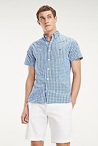 타미 힐피거 Tommy Hilfiger Short-Sleeve Cotton Dobby Shirt,REGATTA / MULTI
