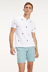 타미 힐피거 Tommy Hilfiger Pique Cotton Palm Embroidered Polo,BRIGHT WHITE