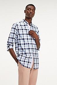 타미 힐피거 Tommy Hilfiger Slim Fit Cotton Poplin Check Shirt,REGATTA / MULTI