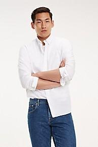 타미 힐피거 Tommy Hilfiger Regular Fit Textured Stripe Shirt,BRIGHT WHITE