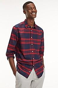 타미 힐피거 Tommy Hilfiger Regular Fit Cotton Poplin Plaid Shirt,HAUTE RED / MULTI