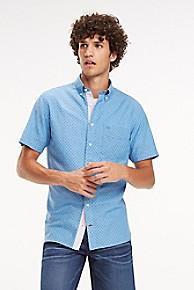 타미 힐피거 Tommy Hilfiger Regular Fit Cotton Linen Short-Sleeve Shirt,SHIRT BLUE / PEACOAT