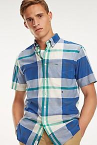 타미 힐피거 Tommy Hilfiger Short-Sleeve Cotton Poplin Madras Shirt,BLUE QUARTZ / MULTI
