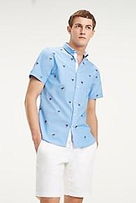 타미 힐피거 Tommy Hilfiger Short-Sleeve Palm Tree Shirt,SHIRT BLUE / MULTI