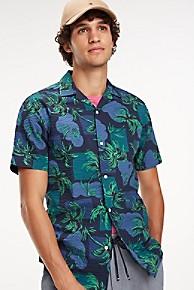 타미 힐피거 Tommy Hilfiger Seersucker Palm Shirt,NIGHT SKY / MULTI