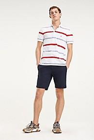 타미 힐피거 Tommy Hilfiger Pique Cotton Stripe Polo,BRIGHT WHITE / RED