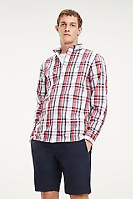 타미 힐피거 Tommy Hilfiger Regular Fit Cotton Poplin Plaid Shirt,BRIGHT WHITE / HAUTE RED / MULTI