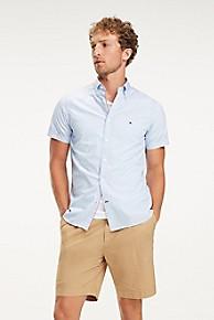 타미 힐피거 Tommy Hilfiger Slim Fit Short-Sleeve Microprint Shirt,REGATTA / MULTI