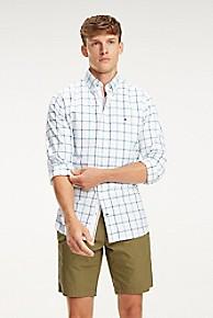타미 힐피거 Tommy Hilfiger Windowpane Check Oxford Shirt,WHITE/PEPPER GREEN /BLUE