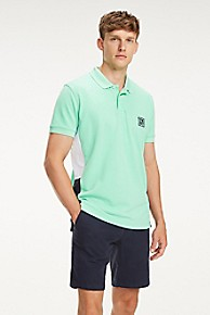 타미 힐피거 Tommy Hilfiger Pique Cotton Colorblock Polo,SPRING BUD GREEN