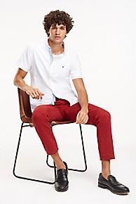 타미 힐피거 Tommy Hilfiger Short-Sleeve Organic Oxford Shirt,BRIGHT WHITE