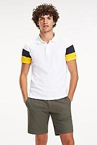 타미 힐피거 Tommy Hilfiger Pique Cotton Colorblock Polo,BRIGHT WHITE