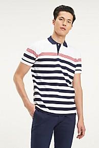 타미 힐피거 Tommy Hilfiger Pique Cotton Stripe Polo,BRIGHT WHITE