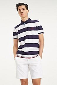 타미 힐피거 Tommy Hilfiger Stripe Pique Cotton Polo,MARITIME BLUE / BRIGHT WHITE