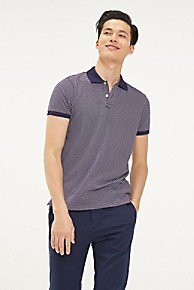 타미 힐피거 Tommy Hilfiger Pique Cotton Textured Polo,MARITIME BLUE