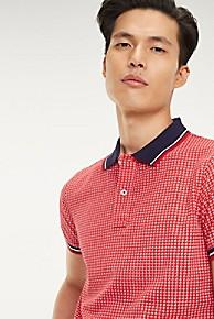 타미 힐피거 Tommy Hilfiger Microprint Slim Fit Polo,HAUTE RED / MULTI