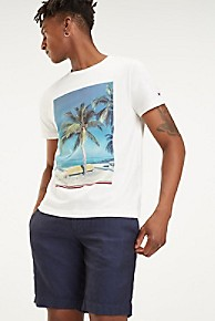 타미 힐피거 Tommy Hilfiger Organic Cotton Summer Photo Print T-Shirt,SNOW WHITE