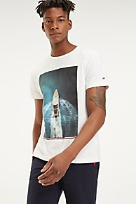 타미 힐피거 Tommy Hilfiger Organic Cotton Summer Photo Print T-Shirt,SNOW WHITE / BLUE