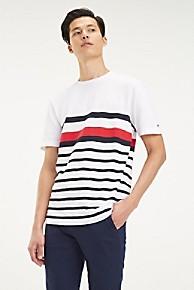 타미 힐피거 Tommy Hilfiger Regal Stripe T-shirt,BRIGHT WHITE