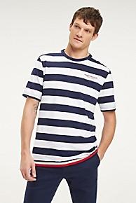 타미 힐피거 Tommy Hilfiger Organic Cotton Stripe T-Shirt,BRIGHT WHITE/MARITIME BLUE