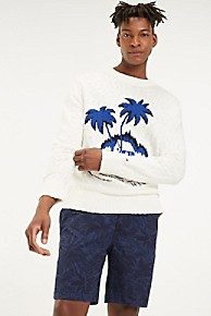 타미 힐피거 Tommy Hilfiger Slub Cotton Souvenir Sweater,SNOW WHITE