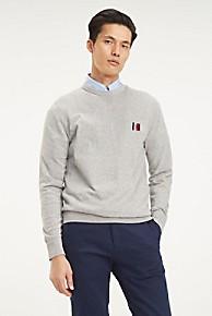 타미 힐피거 Tommy Hilfiger Organic Cotton Essential Sweater,CLOUD HEATHER
