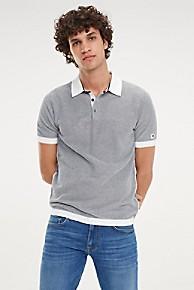 타미 힐피거 Tommy Hilfiger High Twist Cotton Polo Sweater,MARITIME BLUE