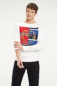 타미 힐피거 Tommy Hilfiger Embroidered Crest Sweater,SNOW WHITE