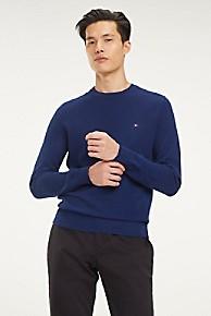 타미 힐피거 Tommy Hilfiger Compact Cotton Sweater,BLUE QUARTZ HEATHER