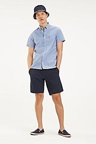 타미 힐피거 Tommy Hilfiger Crisp Poplin Short-Sleeve Shirt,BLUE QUARTZ