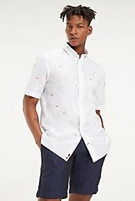 타미 힐피거 Tommy Hilfiger Short-Sleeve Oxford Shirt,BRIGHT WHITE / MULTI