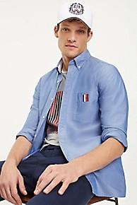 타미 힐피거 Tommy Hilfiger Stretch Poplin Slim Fit Shirt,BLUE QUARTZ