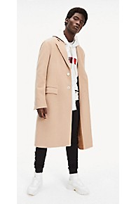 타미 힐피거 Tommy Hilfiger Lewis Hamilton Virgin Wool Overcoat,TAN