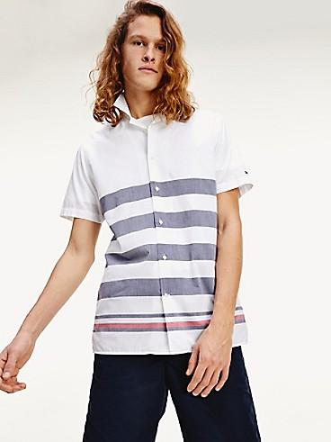타미 힐피거 반팔 셔츠 Tommy Hilfiger Regular Fit Cotton Poplin Short Sleeve Shirt,WHITE / BLUE INK