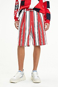 타미 힐피거 Tommy Hilfiger Stripe Regatta Short,BRIGHT WHITE/RED
