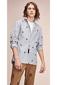 타미 힐피거 Tommy Hilfiger 타미 힐피거 Hilfiger Collection Embroidered Crest Shirt,DARK NAVY / BRIGHT WHITE