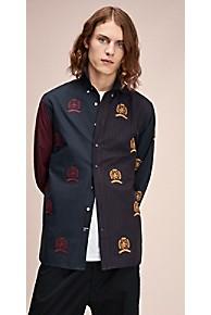 타미 힐피거 Tommy Hilfiger 타미 힐피거 Hilfiger Collection Colorblock Crest Shirt,DARK NAVY / PORT ROYALE / MULTI