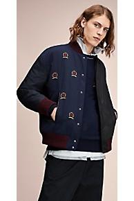 타미 힐피거 Tommy Hilfiger 타미 힐피거 Hilfiger Collection Paneled Varsity Jacket,DARK NAVY