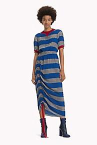 타미 힐피거 Tommy Hilfiger Ruched Silk Rugby Stripe Dress,BLUE