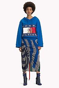 타미 힐피거 Tommy Hilfiger Silk Rugby Stripe Ruched Skirt,PURPLE