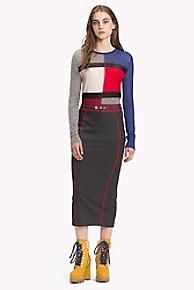 타미 힐피거 Tommy Hilfiger Jersey Midi Skirt,GREY