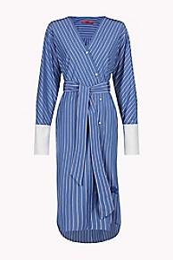 타미 힐피거 Tommy Hilfiger Striped Wrap Shirt Dress,OXFORD BLUE STRIPE