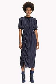 타미 힐피거 Tommy Hilfiger Silk Pinstripe Ruched Dress,BLUE