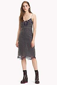 타미 힐피거 Tommy Hilfiger Pinstripe Lace Dress,PEACOAT PINSTRIPE