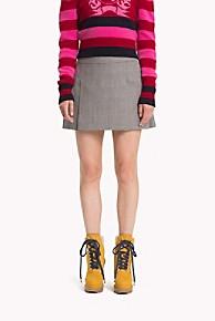 타미 힐피거 Tommy Hilfiger Wool Mini Skirt,BLACK