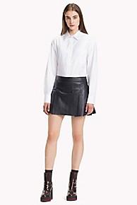 타미 힐피거 Tommy Hilfiger Pleated Leather Mini Skirt,DEEP WELL