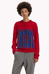 타미 힐피거 Tommy Hilfiger Stripe Crest Sweater,RED