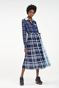 타미 힐피거 Tommy Hilfiger Silk Madras Shirt Dress,MEDIEVAL BLUE / MULTI